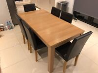 Extendable Dining Table & 6 Chairs - Oak Effect
