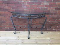 Wrought Iron and Toughened Glass Half-Moon Table