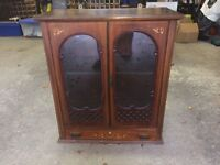 Antique Mahogany & glass cabinet. Shelf, drawer + keys included. Excellent condition.
