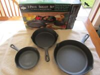 Three piece skillet set brand new in original box by Gourmet's Pride