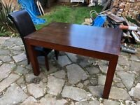 Wooden Table with 4 Leather look chairs