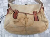 OLD BRADY FISHING BAG WITH LINER, HALESOWEN LEATHER,MADE IN ENGLAND.