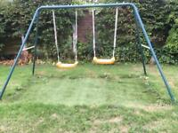 Double swing set with toddler seat