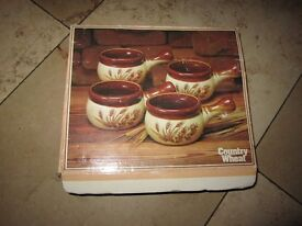 Vintage country wheat soup bowls pack of four brand new with original box