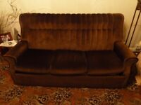 3 Piece suite sofa bed in brown draylon with reclining armchair. VGC. Must go by Friday Oct. 27th.