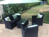 Rattan effect garden - Sofa, Chairs & Table