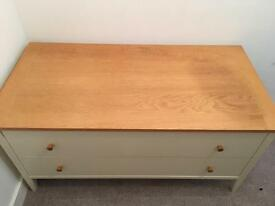 Wooden table with two large drawers