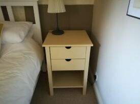 Bedside Chest of 2 Drawers - Painted Cream - Good Condition