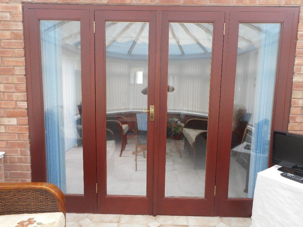 Mahogany French Doors With Side Panels In Wingerworth Derbyshire