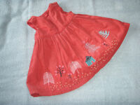 M&S Fully Lined, Corduroy, Pleated, Appliqué Dress 3 - 6 Months
