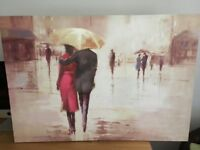Walking in the rain canvas