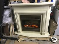 Electric Fireplace and Cream Surround