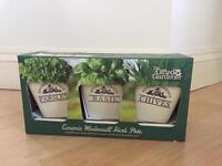 Ceramic windowsill herb pots
