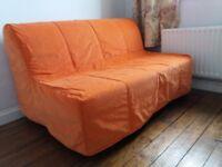 IKEA LYCKSELE MURBO 2 SEAT SOFA BED Orange cover BELFAST