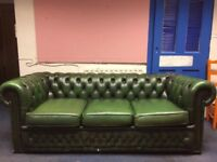 3 seat leather Chesterfield sofa