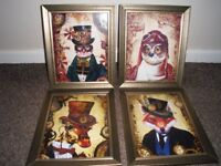 NEW PRINTS IN GLASS BRONZE/GOLD GLASS FRAMES.STEAMPUNK STYLE 12inch by 10inch FRAMES