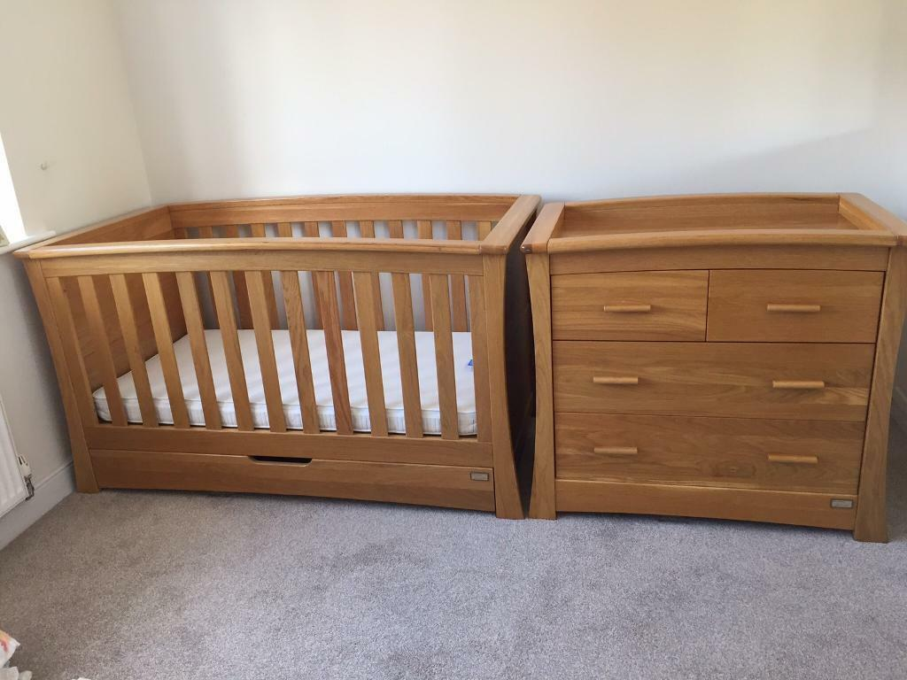 Mamas Papas Solid Oak Ocean Cot Bed Changing Unit Drawers Inc Mattress Nursery Furniture
