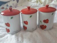 Tea, Coffee, Sugar Cannisters, Rayware, Alpine Poppy, H14cm