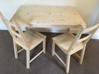 Dinning table and 2 chairs solid wood