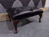 New Chesterfield Footstool Stool in Any Colour Leather Black
