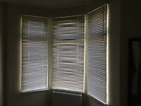 Set of white blinds for bay window and single window for collection from Bristol