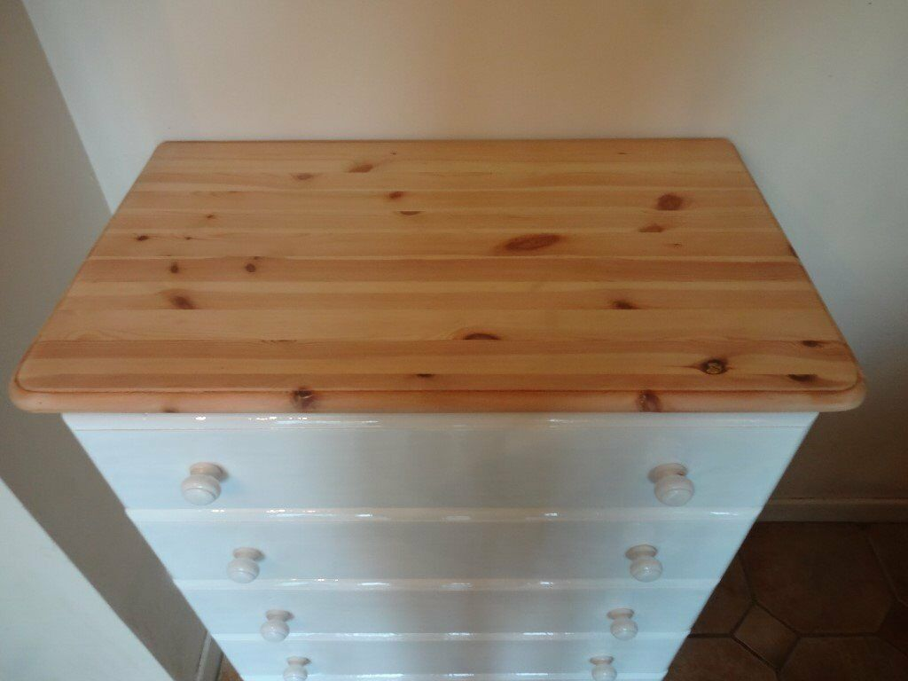 SOLID PINE CHEST OF DRAWERS--5 DRAWERS--TOP SANDED + WAXED --PAINTED IN FARROW + BALL--WHITE