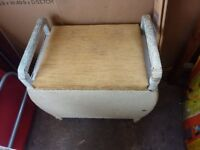 Vintage old collectible retro restorable useable bathroom, bedroom, chair stool with storage