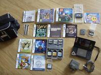 Black Nintendo DS Lite Console + Games Bundle / Lot - Professor Layton Harry Potter Nintendogs CSI