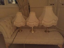 3 Brass Lamps with Cream Fringed Shades