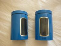 TWO BLUE BRABANTIA METAL CANISTERS