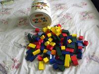 Tub of 120 wooden bricks