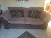 Large sofa, chair and storage footstool, and rug good condition, sold as seen
