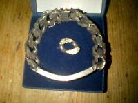 solid hallmarked silver vintage 70's retro bark pattern men's identity bracelet chain + spare link