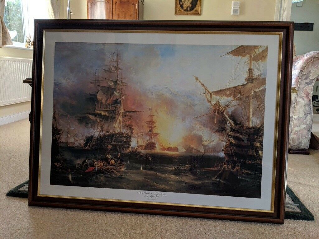 The Bombardment Of Algiers By George Chambers Approx 99 X 74 Cm