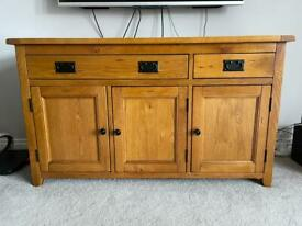 Solid Oak 3 Door, 2 Drawer Sideboard