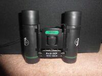 Viking 8*21 binoculars, right diopter lens, adj lens caps, strap, lens caps