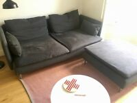 Three-seat sofa + footstool from IKEA