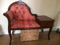 Vintage telephone seat & table