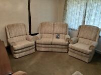 Parker Knoll Sefton Cottage three piece suite in oyster