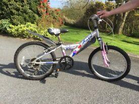 "Girls Shogun Sabre alloy mountain bike, pink & silver frame 20"" wheels, good condition"