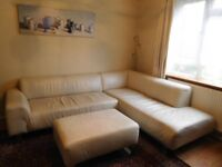 Cream Leather Corner Sofa with matching leather footstool