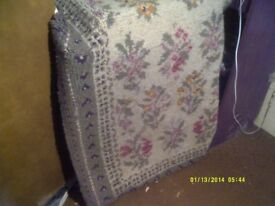 WOOLEN RUG , VERY THICK , NICE FLORAL PATTERN 60 by 30 inches . In V.G.C. +++