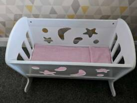 Baby dolls wooden cot with cover