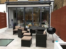 Ratan Garden Furniture for sale. 4 chairs, 4 stools, with covers for all.