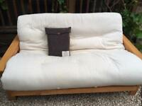 2 seater futon, wooden frame, mattress and new cover by Futon company