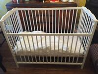 Mothercare White Dropside Cot With Mattress And Fitted Sheet GBP50