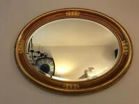 Italian Style Solid wood mirror oval shape gold gilded ornate