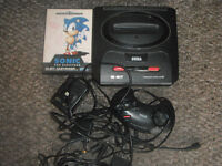 sega megadrive 2 with sonic and controller all leads