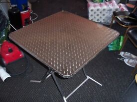 3 Stainless steel tables and 12 chairs. New surplus to requirements.