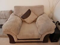Lovely DFS Oversized 3 Seater Sofa, Armchair & Pouffe - 18mths old